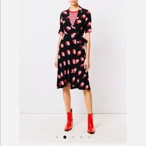 Ganni Harley Floral Print Wrap Dress